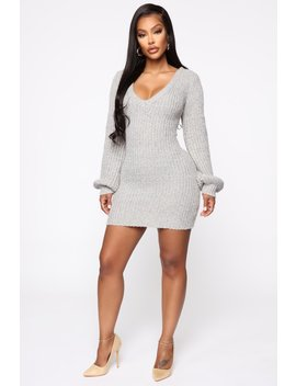 More Than A Sweetheart Sweater Dress   Heather Grey by Fashion Nova