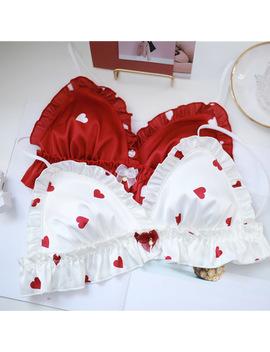 Sp&City Japan Style Lolita Sexy Bra Sets Red Heart Wavy Lace Sweet Girl Bralette Set Women Ruffle Lingerie Cute Bow Underwear by Ali Express.Com