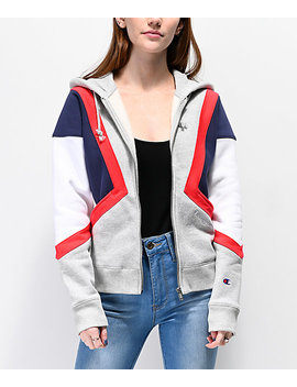 Champion Reverse Weave Colorblock White, Grey, Red & Blue Zip Up Hoodie by Champion