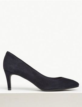 Wide Fit Suede Stiletto Heel Court Shoes by Marks & Spencer