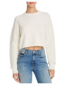 Cropped Fluffy Sweater by Bardot