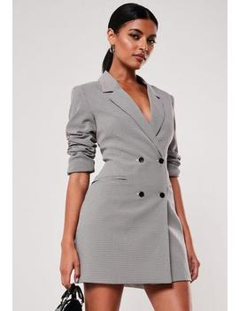 Micro Check Double Breasted Blazer Dress by Missguided