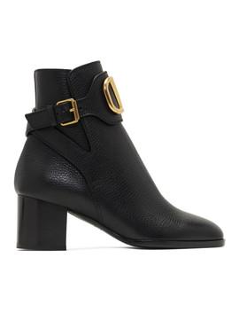 Black Valentino Garavani V Logo Ankle Boots by Valentino