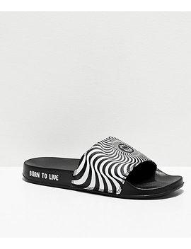 Spitfire Swirl Black & White Slide Sandals by Spitfire