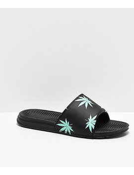 Huf Plant Life Black & Mint Green Slide Sandals by Huf