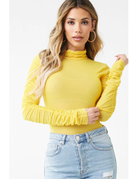 Sheer Mesh Ruched Top by Forever 21