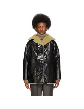 Reversible Black Lacquer Sheepskin Coat by Kassl Editions