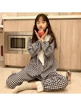 Dute   Pajama Set: Checked Long Sleeve Top + Pants by Dute