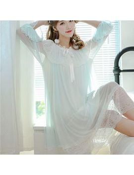 Ciambella   Lace Trim Long Sleeve Nightdress by Ciambella