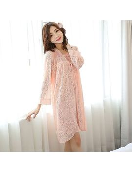 Mayonnaise   Pajama Set: Flower Embroidered Nightgown + Lace Up Robe by Mayonnaise