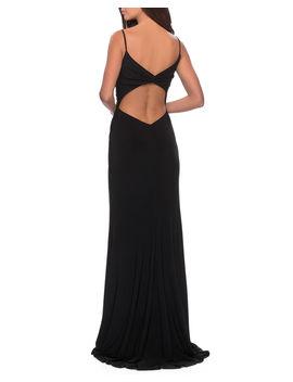 V Neck Sleeveless Jersey Dress With Slip & Ruching by La Femme