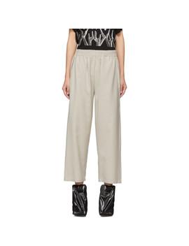 Beige Flannel Pull On Trousers by Mm6 Maison Margiela