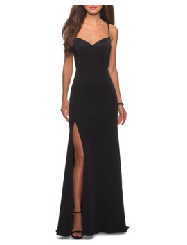 Sweetheart Cross Back Jersey Gown With Slit by La Femme