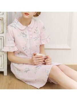 Meju   Flower Print Flared Short Sleeve Nightdress by Meju
