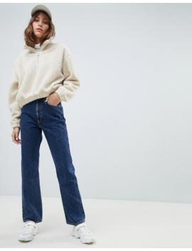 Weekday   Jean Taille Haute à Bord Brut En Coton Bio   Bleu Win by Weekday