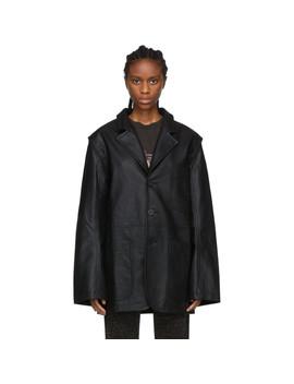 Black Faux Leather Detachable Arm Jacket by Telfar