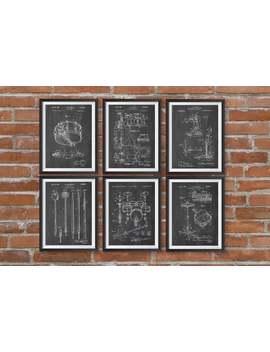 Drum Patent Prints Set Of 6, Drummer Decor, Music Room Decor, Musician Art Gift, Musician Gift Idea, Drum Set Print, Gift For Musician by Etsy