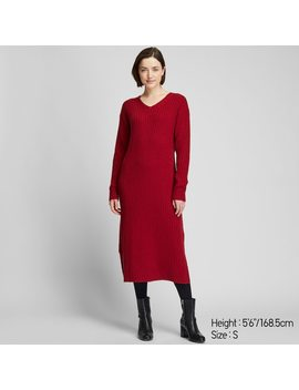 Women Wide Ribbed V Neck Knit Maxi Dress by Uniqlo