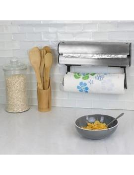Wall Mount Paper Towel Holder With Integrated Wrap Dispenser by Home Basics