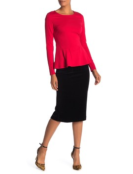 Stretch Corduroy Pencil Midi Skirt by Catherine Catherine Malandrino