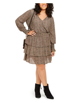 Plus Size Animal Print Tiered Dress by General