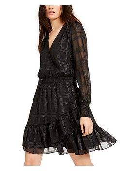 Shiny Plaid Smocked Dress, Regular & Petite Sizes by General