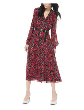 Printed Belted Midi Dress by General