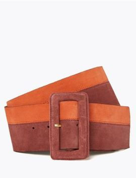 Leather Colour Block Waist Belt by Marks & Spencer