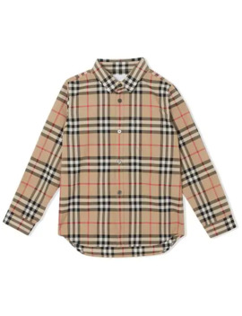 Vintage Check Cotton Poplin Shirt by Burberry Kids
