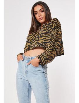 Gold Zebra Print Crop Sweatshirt by Missguided