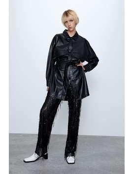 Faux Leather Overshirt Coats Coats Woman by Zara