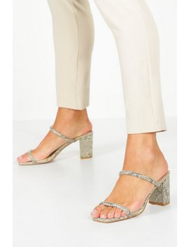 Double Band Block Heel Mules by Boohoo