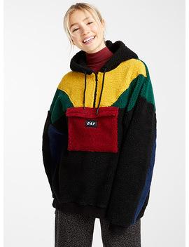 Colour Block Sherpa Sweatshirt by Lazy Oaf