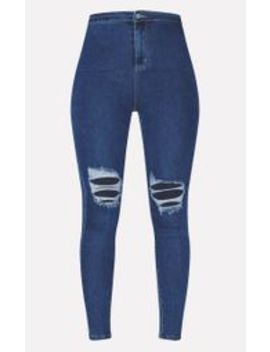 Prettylittlething Mid Blue Knee Rip 5 Pocket Skinny Jean by Prettylittlething