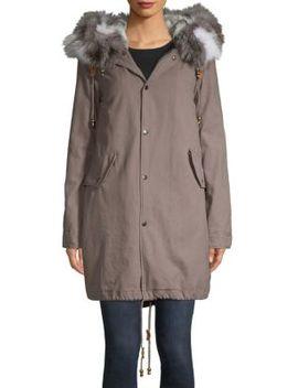 Dyed Rex Rabbit Fur Pea Coat by Adrienne Landau