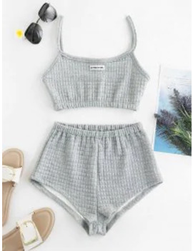 Hot Sale My Pretty Girl Patched Textured Square Two Piece Set   Gray Cloud S by Zaful
