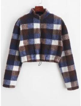 Zaful Cropped Half Zip Plaid Teddy Sweatshirt   Multi S by Zaful
