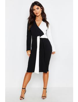Contrast Colour Block Wrap Midi Dress by Boohoo