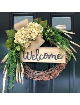 Welcome Wreath   Country Cream Hydrangea Burlap Wreath   All Year Long Wreath   Everyday Wreath   Wreath   Gift For Mom   Gifts   Wreaths by Etsy