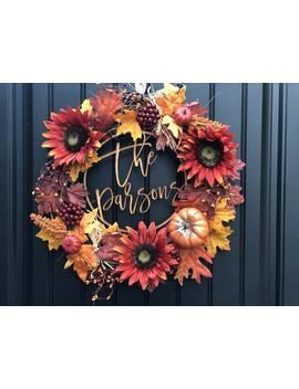 Fall Wreath For Front Door   Custom Family Name   Fall Decor Customized   Personalized Wreath   Laser Cut Center Piece   Autumn Wreath by Etsy