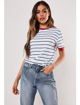 White Stripe Ringer T Shirt by Missguided
