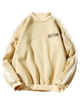 Sale Contrast Letter Stripe Fleece Sweatshirt   Sun Yellow M by Zaful
