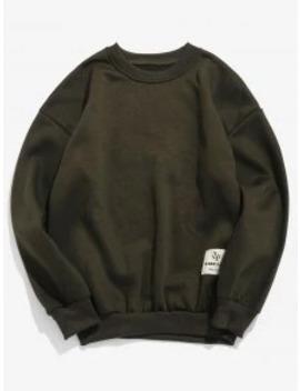 Patch Detail Solid Fleece Sweatshirt   Army Green S by Zaful