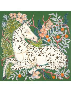 Art Print Spotted Horse On Botanical Green by Etsy