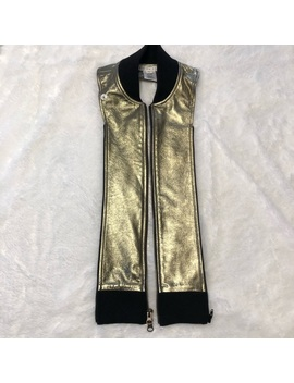 Veronica Beard Gold Metallic Bomber Leather Dickey by Veronica Beard