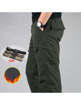 Men's Cargo Pants Winter Thicken Fleece Cargo Pants Men Casual Cotton Military Tactical Baggy Pants Warm Trousers Plus Size 3 Xl by Ali Express.Com