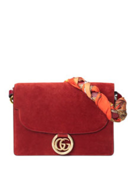 Gg Ring Suede Shoulder Bag by Gucci