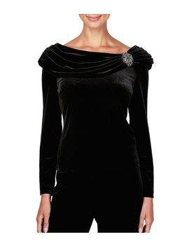 Stretch Velvet Beaded Brooch Detail Long Sleeve Blouse by Alex Evenings