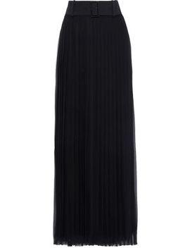 Belted Pleated Silk Chiffon Maxi Skirt by Alberta Ferretti