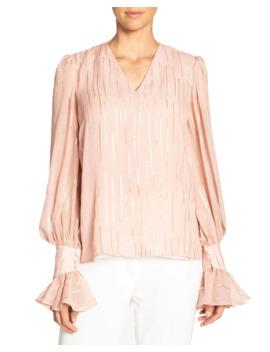 Fancy Striped V Neck Silk Blouse W/ Voluminous Sleeves by Santorelli